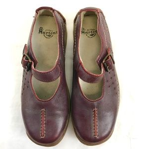 Dr. Martens Shoes - Dr. Doc Martens Red Leather Mary Jane Slip Ons
